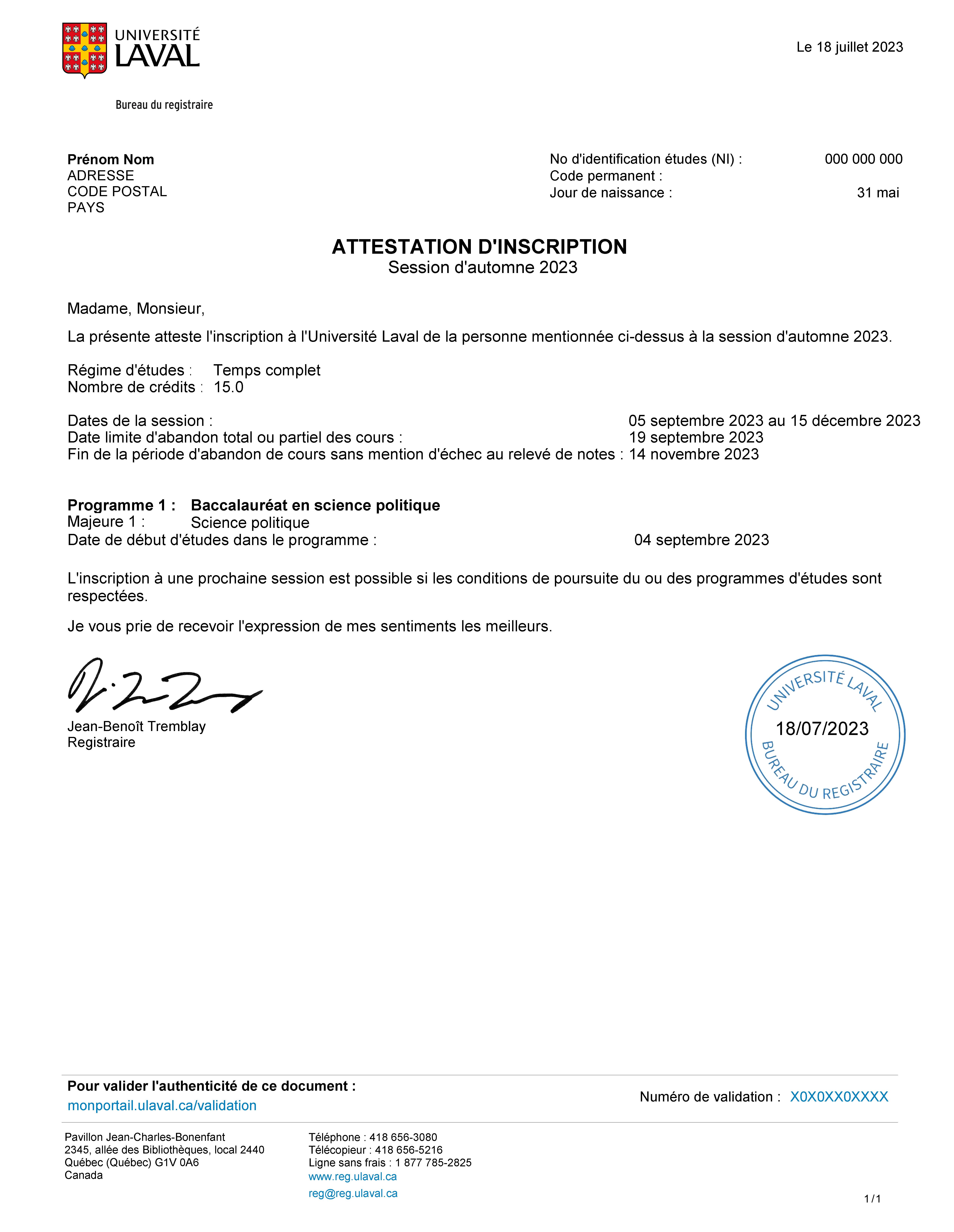 Attestation D Inscription étudiants Actuels Université Laval